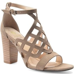 Isola Shoes - Isola 'Despina' suede laser cut block heel sandal